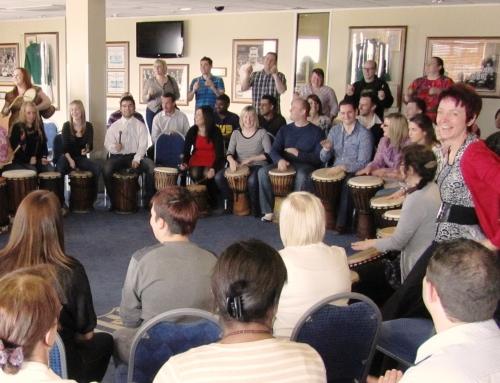 Top speech coach experiences a Drumvoice corporate energiser!